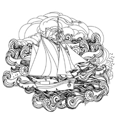 Black and white ship on the background of clouds vector