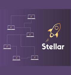 Blockchain stellar networking style background vector