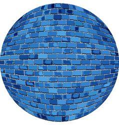 Blue brick ball vector
