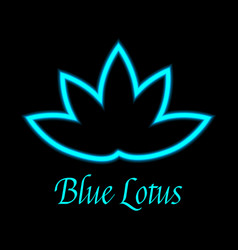 Blue lotus flower logo icon vector
