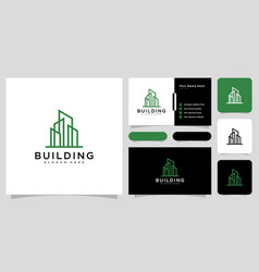 Building logo with line art style and business vector