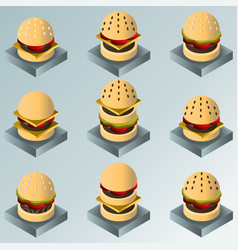 Burgers color gradient isometric icons vector