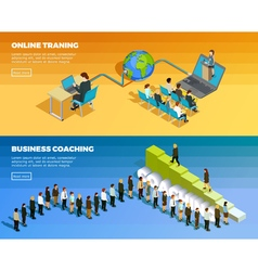 Business education isometric horizontal banners vector