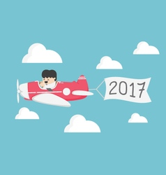 Businessman flying a plane Concept of New Year vector