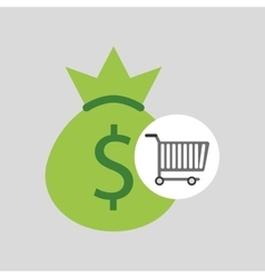 Buying cart bag money dollar design vector