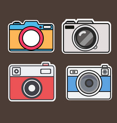camera flat style stickers vector image