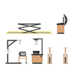Car repair service and instruments collection vector