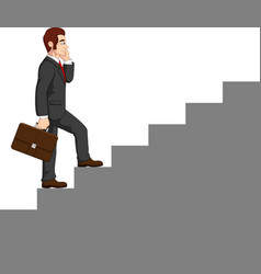 cartoon businessman climbing stairs vector image