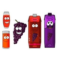 Cartoon grape juice glasses and fruit characters vector