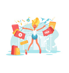 cartoon happy blonde with shopping bags vector image