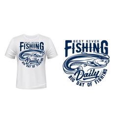 catfish fish t-shirt print mockup fishing sport vector image