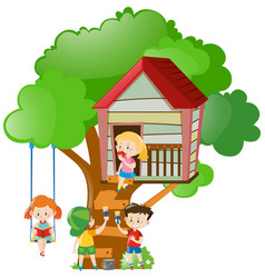 Children playing and painting treehouse vector