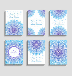 christmas cards with mandala snowflakes on blue vector image