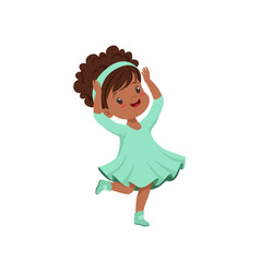 Cute african american little girl dancing in light vector