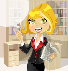Cute business woman in office with speech bubble vector image