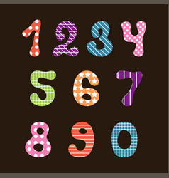cute hand drawn numbers for kids with textile vector image