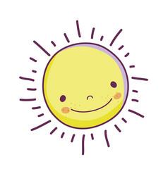 cute sun face icon vector image