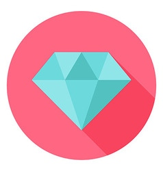 Diamond Jewelry Circle Icon with long Shadow vector image