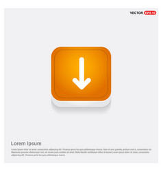 down arrow icon orange abstract web button vector image