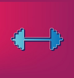 Dumbbell weights sign blue 3d printed vector