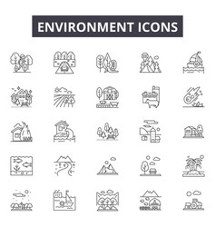 environment line icons for web and mobile design vector image