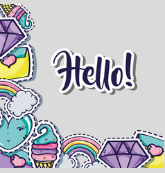 fashion cute patch background design vector image