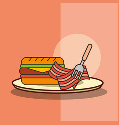 fast food burger and bacon with fork in dish vector image