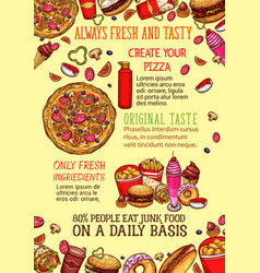 fast food lunch dishes sketch poster template vector image