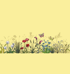 Field flowers and grass landscape vector