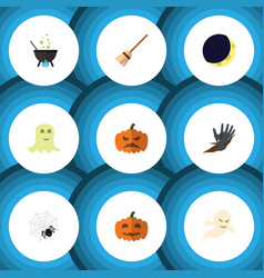 flat icon festival set of magic spinner broom vector image