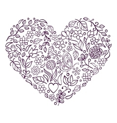 floral heart on white background vector image