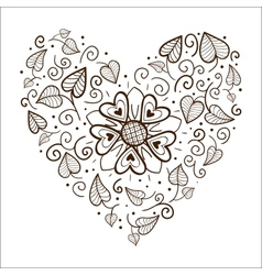 Flowers heart frame vector image