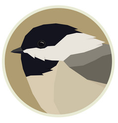 Forest wild life geometric chickadee rounde frame vector
