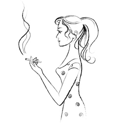 Girl smokes vector