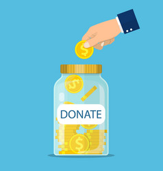glass jar for making donations and coin in hand vector image