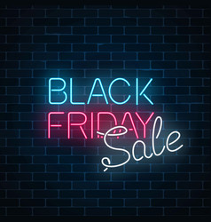glowing neon sign of black friday sale on dark vector image