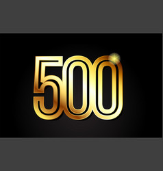 Gold number 500 logo icon design vector