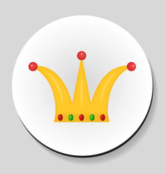 Golden crown sticker icon flat style vector