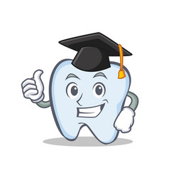 Graduation tooth character cartoon style vector