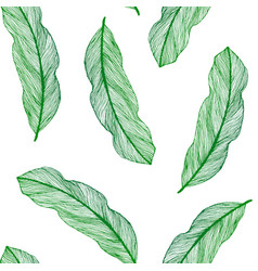 Graphic seamless pattern from green leaves vector