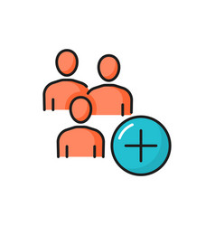 Group of people with plus sign isolated line icon vector