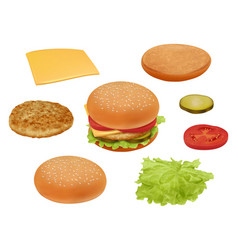 hamburgher realistic fast food ingredients vector image