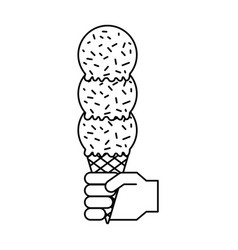 hand with scoops in cone vector image