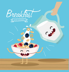 Happy cereal with fruits and milk jar vector
