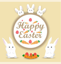 happy easter rabbit holiday card flat vector image