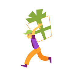 happy young man carry huge present box vector image
