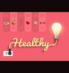 Healthy ideas concept creative light bulb design vector