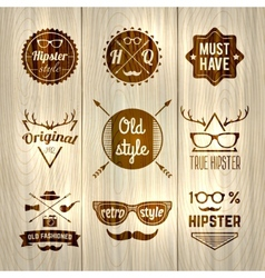 Hipster Labels Wooden vector image