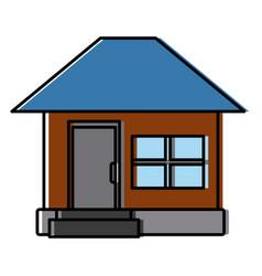House facade small steps architecture icon vector