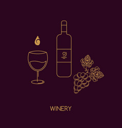 icon line style wine bottle grape vector image